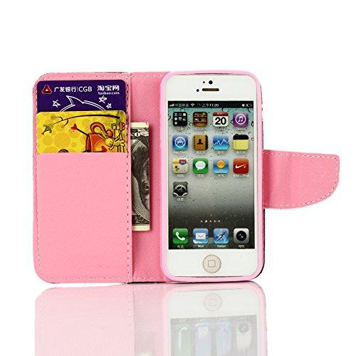 Felfy Handyhülle für iPhone SE,iPhone 5S Case,iPhone 5 Ledertasche Hülle Ultra Slim Flip Leder Etui Ledertasche Schutzhülle Case Cute Muster Farbe Handy Lanyard Mode Tasche Schutz Scratch-Resistant Pr Lila Butterfly