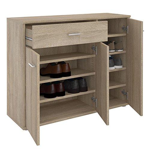 CARO-Möbel Schuhschrank DEUSTO Schuhregal Schuhkommode mit 1 Schublade und 3 Türen in Sonoma Eiche 4