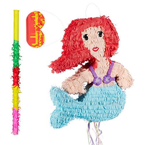 ata Set Meerjungfrau, Pinatastab mit Augenmaske, für Kinder, Stock & Augenbinde, selbst befüllen, Piñata, bunt ()