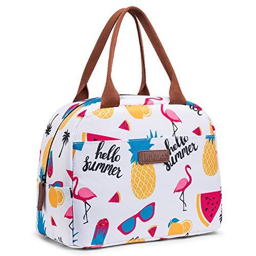 CoolBELL Lunchtasche Kühltasche Isolierte Picknicktasche Thermische Essen Lunch Box Tote Bag für Damen/Bootfahren/Strand/Angeln/Schule/Arbeit/Erwachsene/Studenten/Frauen,Weiß Ananas