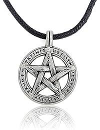 Supernatural Pentagramm Pentagramm Anhänger Herren Halskette Hexe Schutz Star Amulett Halskette Leder Seil Kette