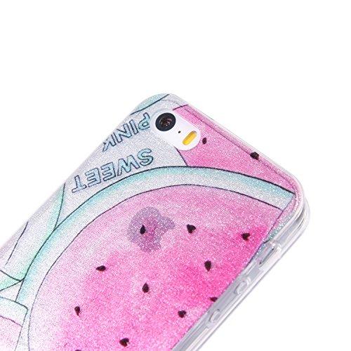 iphone 5 Hülle,Bunt Mandala Muster Design für iphone 5 5s se , E-lush TPU Dünn Transparent Silikon Schutzhülle Kristallklar Durchsichtig Kratzfeste Handyhülle Ultra Chic Thin Weich Tasche Rückschale E Wassermelone
