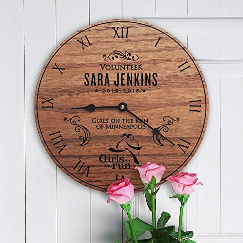 "Mari57llis Personalized Girls on The Run Decor Gift Girl Empowerment Girl Power Woman Leader Volunteer Custom Name Girls on The Run Clock Only 15"" Wall Clock"