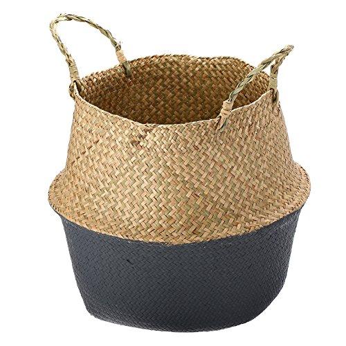 Planta cesta–huplue Natural junco marino Belly cesta lavandería cesta soporte maceta casa jardín almacenamiento Picnic, 36x32cm