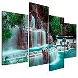 Kunstdruck - Wasserfall vor dem Wynn Hotel - Las Vegas - Bild auf Leinwand - 120x80 cm 4 teilig - Leinwandbilder - Bilder als Leinwanddruck - Landschaften - Amerika - USA - kleiner Wasserlauf