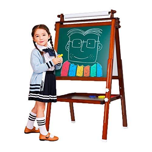 3 in 1 Holz Kind Staffelei, doppelseitige magnetische Reißbrett, Whiteboard & Tafel Tafel Staffelei mit Zeichnungsachse & Papierrolle, Bonus Magnetics, Zahlen, Paint Cups zum Schreiben (braun)