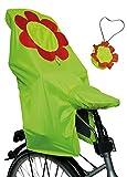 Lunari Kinder Fahrradkindersitz Regenschutz Lucky Cape Quick 2-in-1 Flower Rot/Neongelber Blume, One Size
