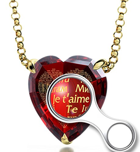 Collier Coeur - Bijoux Plaqué Or avec Je t'aime en 120 langues inscrit en Or 24ct sur Zircon Cubique en forme de Coeur, Chaine en Or Laminé de 45cm - Bijoux Nano Rouge