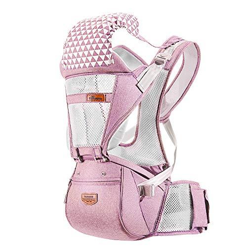 SUNVENO Babytrage mit Abnehmbarem Kapuze Ergonomische Kindertrage Bauchtrage Hüftsitz für baby Rückentrage Babytrage 3 in 1 Kindertrage 15kg 20kg (Atmungsaktiv Rosa)