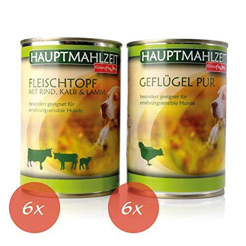 Nassfutter Hund I Hundefutter in Verschiedenen GeschmacksrichtungenI 12 x 410 g I Alleinfuttermittel ohne Konservierungsstoffe und chemische Zusätze I Getreidefrei (Geflügel & Fleischtopf)