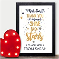 Personalised Thank You Teacher End of Term Leaving Christmas Star Gift Childminder - Gifts for Teachers, Teaching Assistants, Nursery Teachers - ANY NAME - A5 A4 Framed Prints or 18mm Wooden Blocks