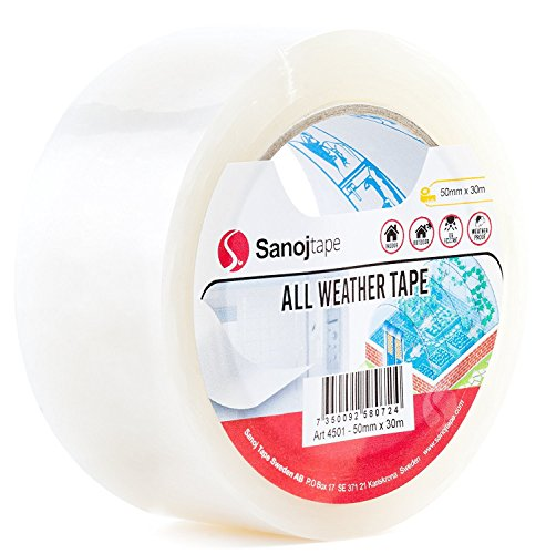 Sanojtape All Weather Outdoor Repair Clear Tape 50mm x 30m | UV-Resistant Acrylic Adhesive | Perfect for Greenhouse Repair, Temporary Glass Crack Repair