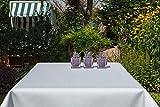 Garten-Tischdecke ABWASCHBAR mit Acryl und BLEIBAND, Form und Größe sowie Farbe wählbar, Maße: 130x160 cm Eckig weiß Rustikal