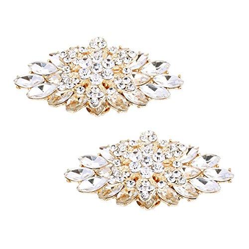 Elegantpark BD 2 Stück Schuhclips doppelte Schichten Rhinestones Hochzeitsfest Accessiories Gold