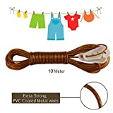 #7: AllExtreme 10 meter PVC Coated Steel Anti-Rust Wire Rope Washing Line Clothesline with 2 Plastic Hooks(Golden)