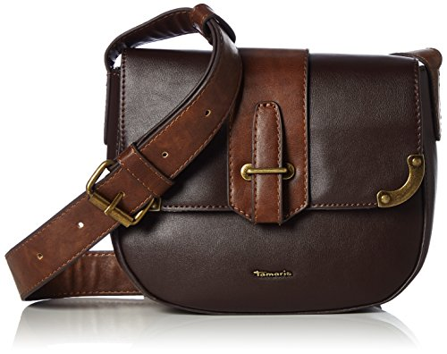 Tamaris Damen Mette Crossbody Bag Umhängetasche, (Dark Brown Comb.), 7,5x16,5x20 cm (Wallet Braune Clutch)