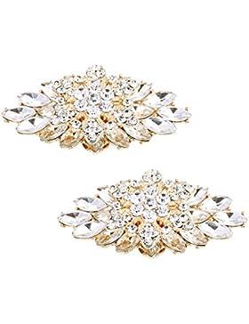 ElegantPark 2 Stück Schuhclips doppelte Schichten Rhinestones Hochzeitsfest Accessiories