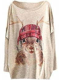 Longra ❤ Mujer Camiseta de Animales y Plantas Impresión de Manga Larga Tejer Sudaderas Navidad