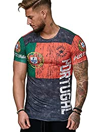 Herren Shirt Flag - Morocco - Germany - Portugal - Spain - Russia - T-Shirt Länder WM 2018 WC Weltmeisterschaft World Cup