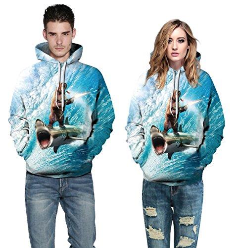 Leapparel Unisex Bunte 3D Pullover Hoodie Sweatshirt für Männer und Frauen mit großen Tasche Cool Graphic Prints Animal-Shark