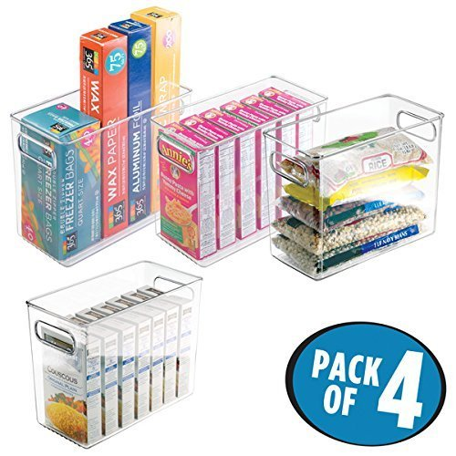 mDesign 4er-Set Vorratsbehälter für Kühlschrank und Gefrierschrank – ideale Lebensmittel Aufbewahrungsbox aus BPA-freiem Kunststoff – praktischer Kühlschrank Organizer – durchsichtig