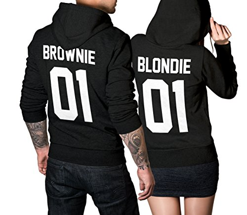 Hoodie Brownie (Blondie Brownie Pullover Pärchen Set - 2 Hoodies für Paare - Couple-Pullover - Geschenk-Idee - schwarz (Blondie M + Brownie M))