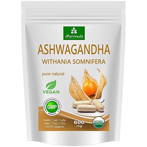 Ashwagandha Kapseln 120 Stück Veggie 600 mg (Top Qualität) - Schlafbeere, Winterkirsche, Withania Somnifera, Indischer Ginseng - von MoriVeda (1x120) (Veggie Kapseln 120)