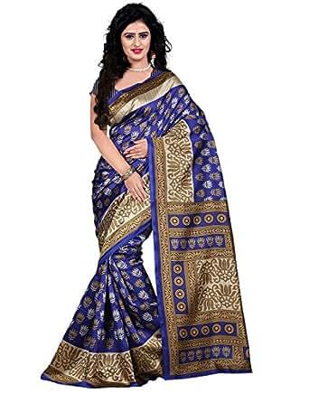 Trendz Women's Cotton Silk Saree With Blouse Piece (Tz_Kasturi_Blue_Blue)