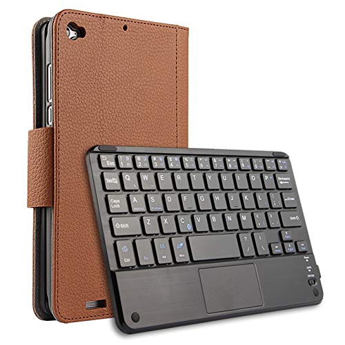 FindaGift Xiaomi Mi Pad 3 Flip Cover, Slim Custodia Protettiva in Pelle Flip Stand Custodia Protettiva Cover con Wireless Bluetooth Keyboard per Xiaomi Mi Pad 3 Marrone