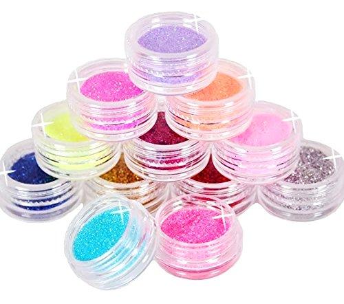 KAIKSO-IN 12 Farben-Metall Glitter Nail Art Tool Kit Acryl-Puder-Staub-Juwel Stamper - Gel-acryl-kit