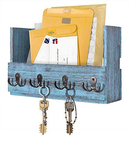 Comfify Post-Wandhalterung aus Holz - Rustikale Schlüsselaufbewahrung - Organizer für die Wand - Zeitschriftenhalter mit 4 Doppel-Schlüsselhaken - Rustikalblaues Wanddekor für den Eingangsbereich