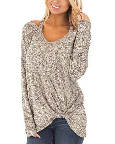 YOINS Femmes T-Shirt Mode Chic Pullover Manche Longue Haut Lâche Blouse Chemise Casual Sweatshirt Top Hauts Basique Décontractés ,B-gris Clair,46 EU(XL)