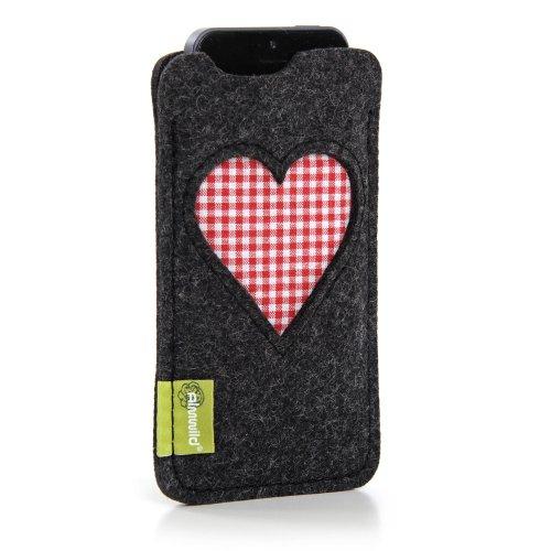 """ALMWILD® Hülle Tasche für Apple iPhone SE, iPhone 5. Aus Natur- Filz in Schiefer – Grau, Schwarz. Modell """"Gschbusi"""". Case speziell für alle iPhone 5 & iPod Touch 5G gefertigt!"""