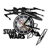 Hulinlian Creativo 3D LED registrado Tema de Star Wars Reloj de Pared Hueco Material de Vinilo Estilo Antiguo Reloj Colgante Reloj
