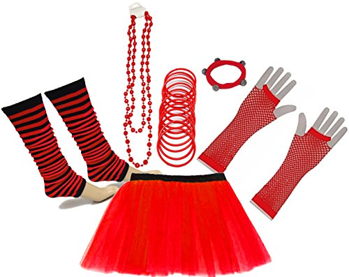 A-Express 80er Damen Neon Tütü Rock Beinstulpen Fischnetz Handschuhe Tüll Fluo Ballett Verkleidung Party Tutu Rock Kostüm Set (46-54, Rot)