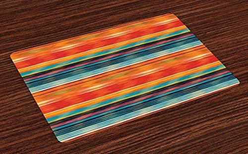 Mexikanische Tischsets, abstrakte lebendige Vintage Aztec Motiv Farbverlauf verschwommene Linien Ecuador Handwerk Bild, waschbare Stoff Tischsets für Esszimmer Küchentisch Dekoration , 4er Set