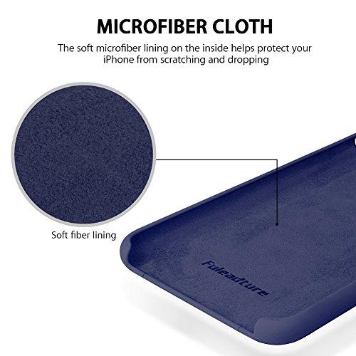 iPhone 8 Plus Hülle, Fuleadture iPhone 7 Plus Liquid Silikon Schutzhülle Flüssigsilikon Mikrofaser Case Cover für iPhone 7 Plus/ 8 Plus Schwarzblau