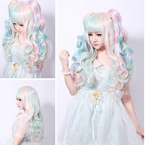 ge Haarfarbe Perücke Hitzebeständig Licht Liu Hai Natürliche Welle Farbverlauf Cosplay Kostüm Party Kostüm (Weibliche Hai Kostüm)