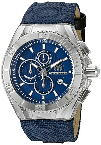 Technomarine-Mens-Quartz-Watch-with-Blue-Dial-Chronograph-Display-and-Blue-Silicone-Strap-TM-115174