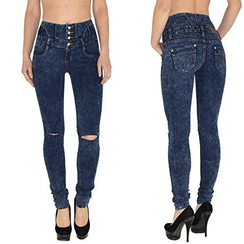 by-tex Damen High Waist Jeans Hose Risse am Knie Röhrenjeans Damen Jeanshose Skinny auch in Übergröße J22-R blau-batik