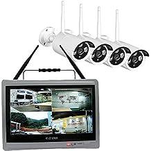 diyumvision sistema de cámara de circuito cerrado de televisión inalámbrico 4canales 960p con monitor de 12,5pulgadas Kit de circuito cerrado de televisión inalámbrico 4piezas al aire libre WiFi Cámara impermeable de 960P 100M visión nocturna