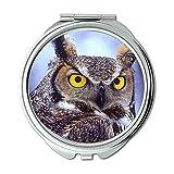 Yanteng Gemacht Desktop Große Augen Eule Tiere Vögel Brieftasche Spiegel, Schminkspiegel, Taschenspiegel (tragbarer Spiegel)