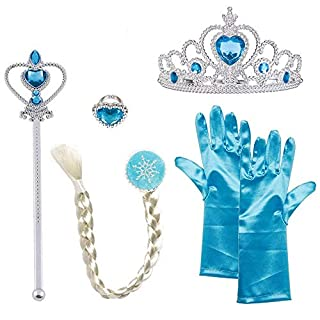 Diadia Queen Elsa Princess Anna Frozen Fever 5-Piece Set Costume Accessory for Girls -Rhinestone Tiara Crown, Hair Braid and Gloves Ring Snowflake Wand