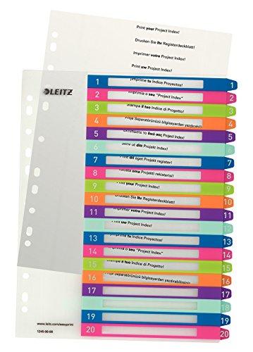 Leitz A4 Register, 1-20, 20 Trennblätter, Beschriftbares Deckblatt, Extrabreit, PP, WOW, Mehrfarbig, 12450000