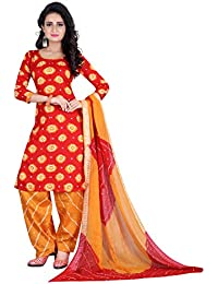 Taboody Empire Marvelous Red Satin Cotton Handi Crafts Bandhani Work With Straight Salwar Suit For Girls And Women