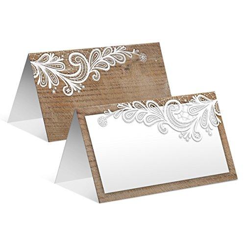 60 x Blanko Platzkarten Namenskarten Tischkarten Geburtstag Hochzeit - Rustikal weiße Spitze