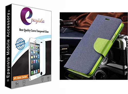 Amazon Presents Imported & 100% Original Mercury Goospery Fancy Diary Card Wallet Flip Case Cover For Samsung Galaxy S Duos S7562 / GT-S7562 / S7582 (Blue & Green) + 2.5D & 0.3mm Pro Curve Tempered Glass With FREE Installation Kit  available at amazon for Rs.299