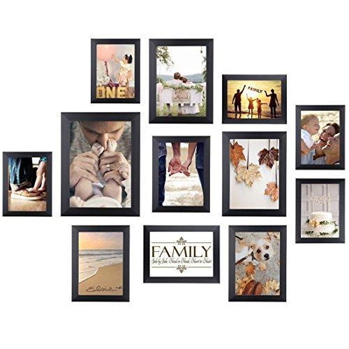 HOMEMAXS Bilderrahmen 12er Collage Bilderrahmen Wandbefestigung Bilderrahmen Umweltfreundlicher Familienfotorahmen (Schwarz)