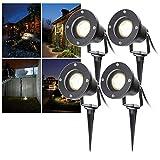 HENGDA Gartenstrahler GU10 4W COB LED Garten Scheinwerfer 4 Stück IP65 85-265V Warmweiß Wasserdicht
