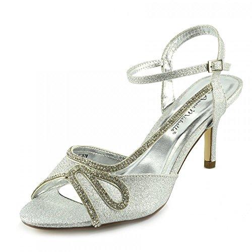 Kick Footwear - Donna Tacco da Sposa Sandali con Fibbia Cinturino alla Caviglia Scarpe Argento - 2